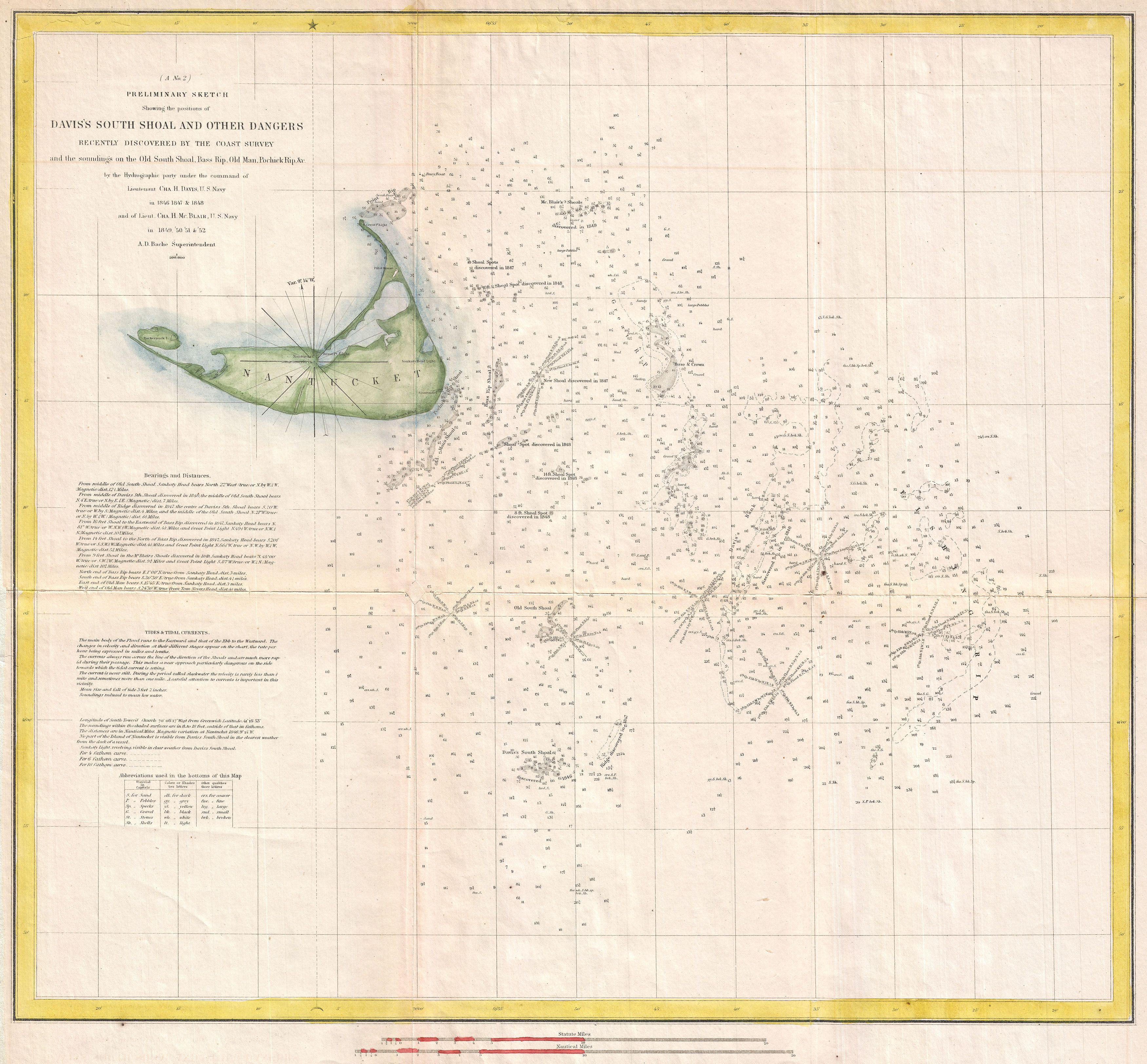 File US Coast Survey Nautical Chart Or Map Of Nantucket - South us coast map