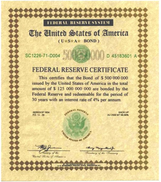 File500 million dollar series 1934 federal reserve system federal reserve certificate for bond for Bond certificate template