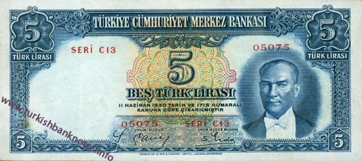 5 Turk Lirası on