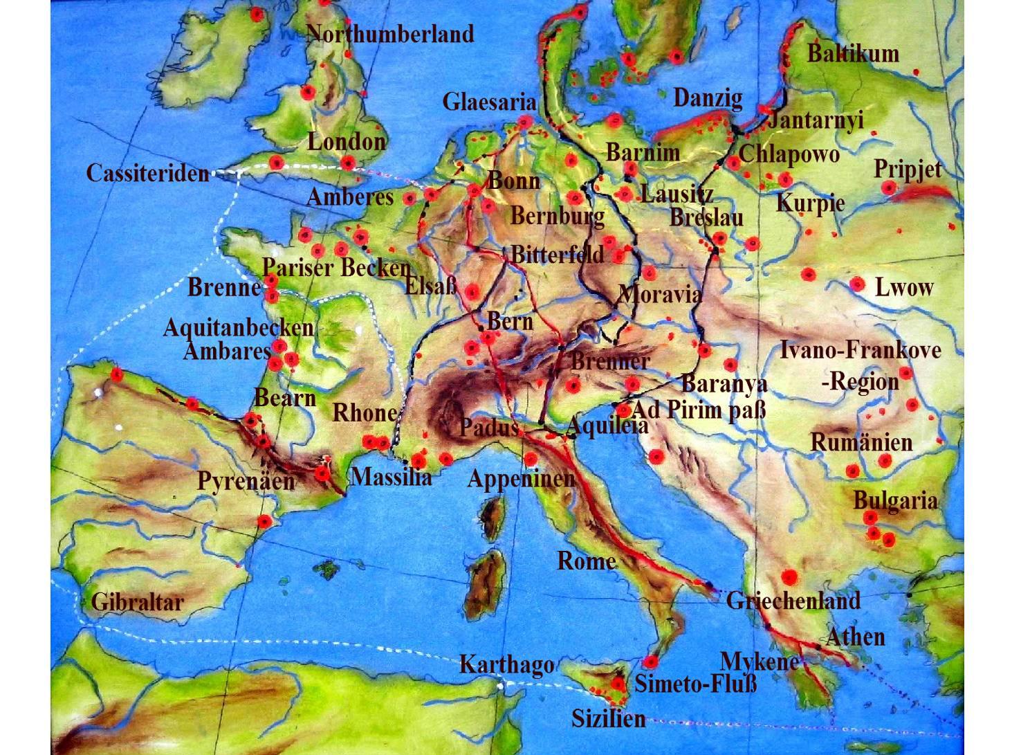 Amber deposits in Europe