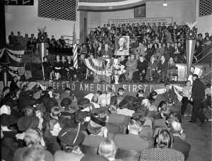 Charles Lindbergh speaking at an AFC rally