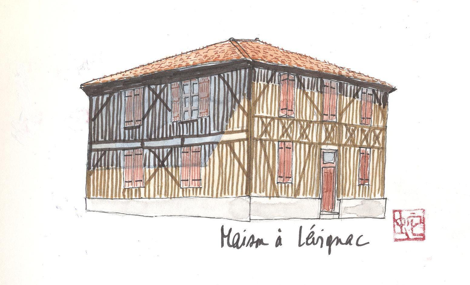 Fichier aquarelle d 39 une maison landaise typique for Aquarelle maison