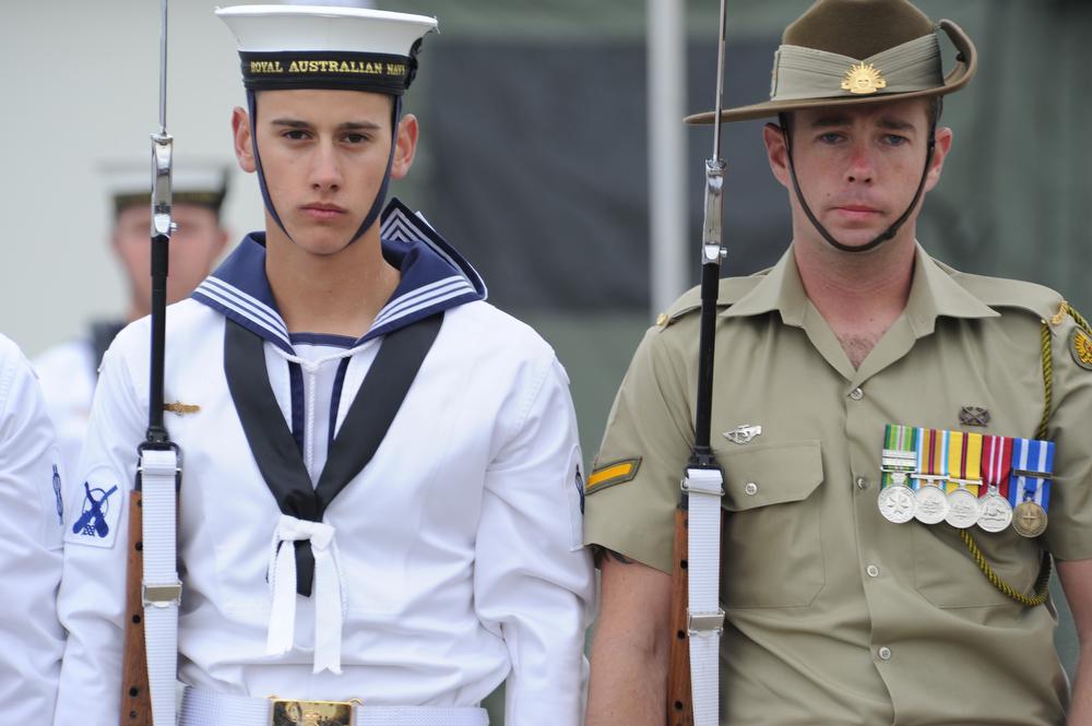 Description australian sailor and soldier wearing formal uniforms 2011