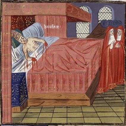 Смерть папы Бонифация (он тут себе вены перегрыз вместе с руками). Изображение из рукописи