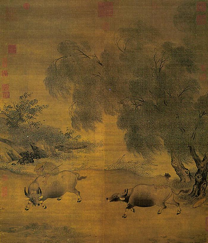 Buffles et vacher fuyant l'orage (1100-1197)