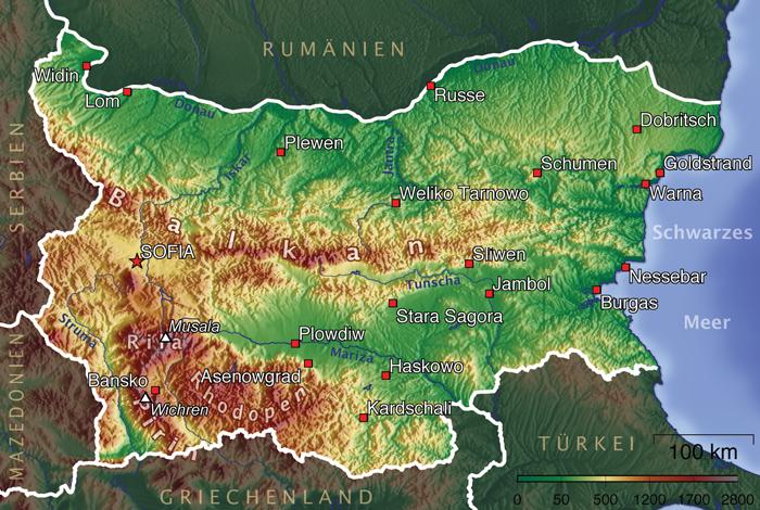 Topografie Bulgariens