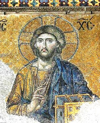 Christ Pantocrator, detail of the Deesis mosaic in Hagia Sophia - Constantinople (Istanbul) 12th century Christ Hagia Sofia.jpg