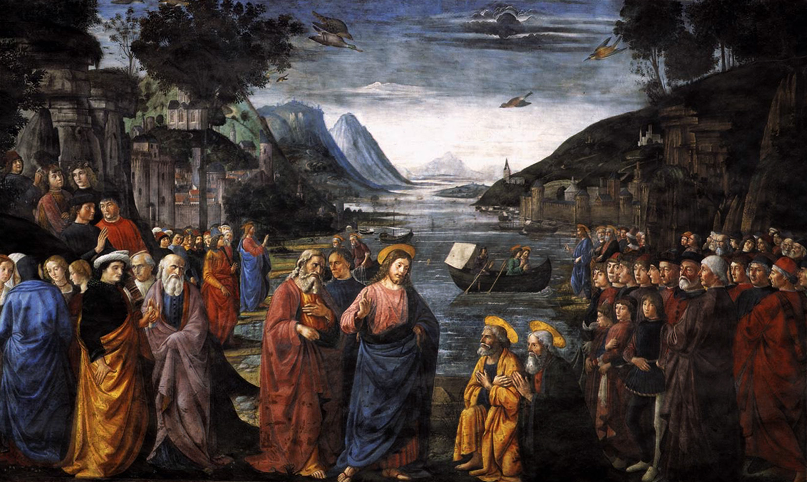 Renaissance painting by Domenico Ghirlandaio of Christ calling the Apostles.