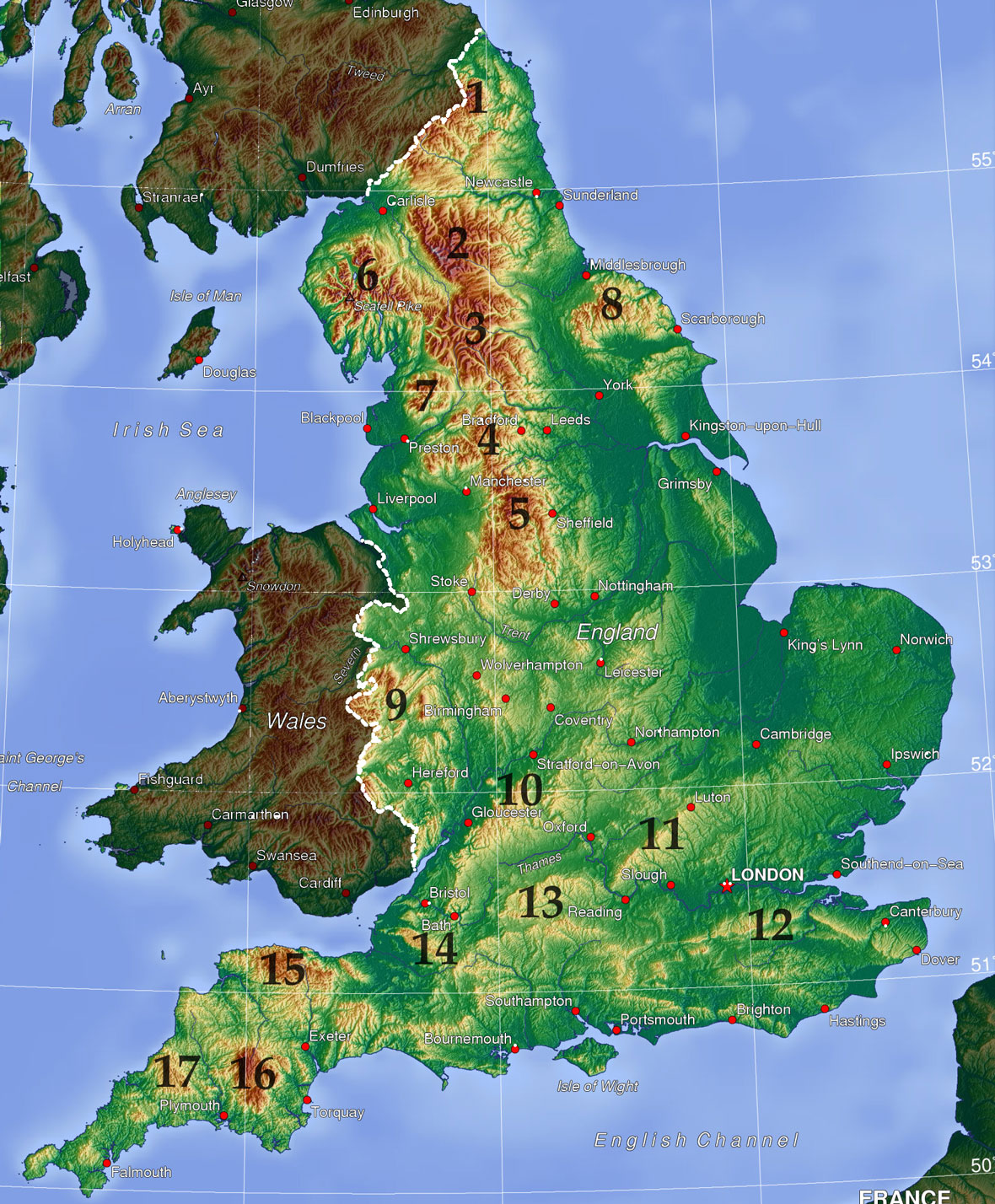 Mountains And Hills Of England Wikipedia - Terrain map uk