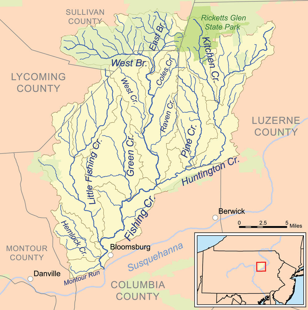 List of tributaries of fishing creek north branch for Fishing creek pa