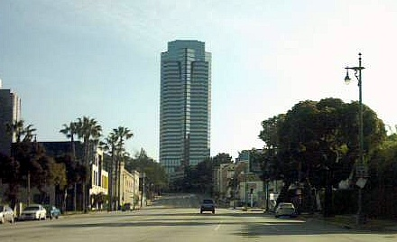 Fox Plaza, Century City headquarters completed in 1987. Foxplazafromolympicblvd.jpg
