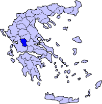 Location of Evritanya Prefecture in Greece
