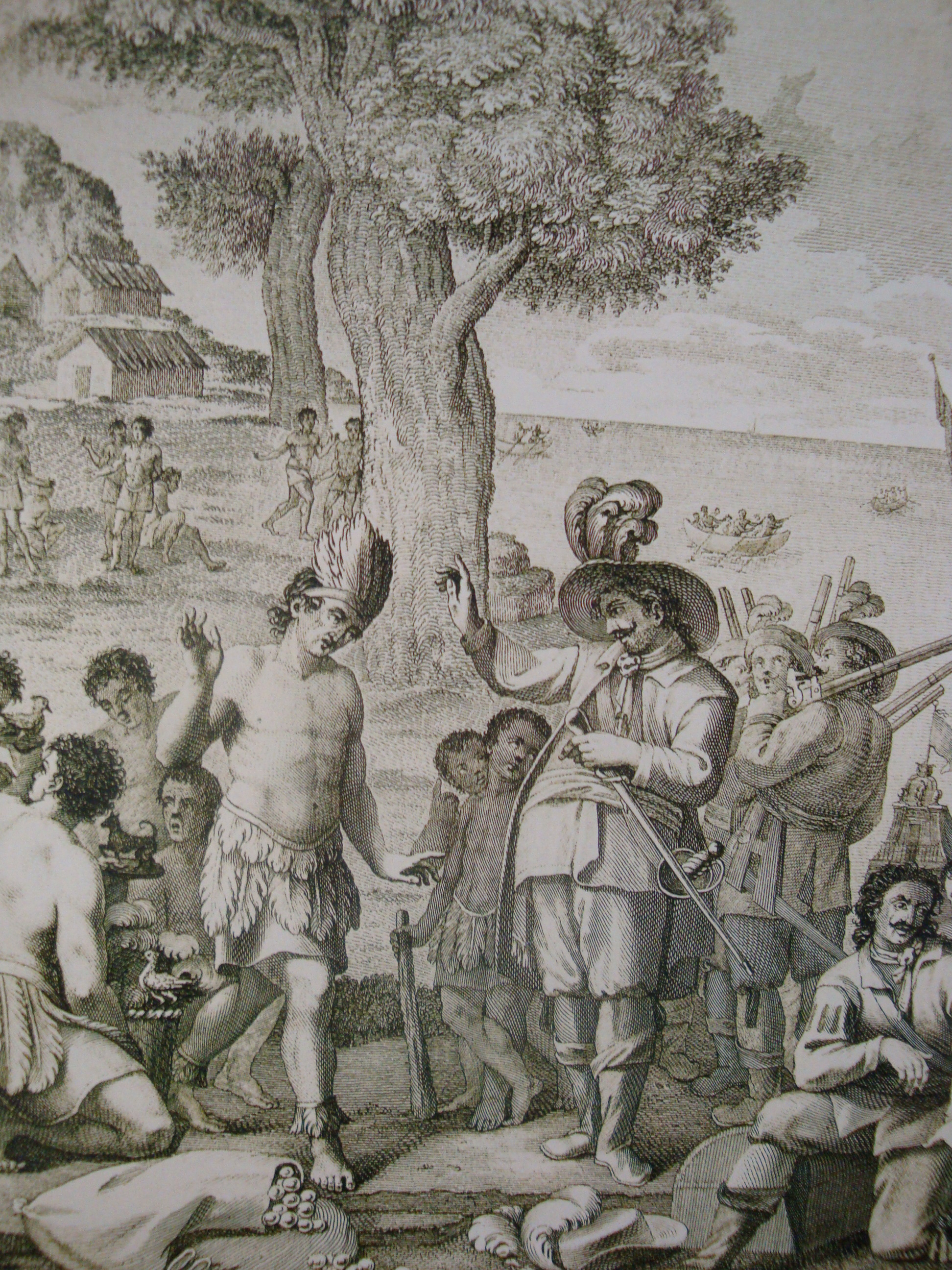 Rencontre entre Juan de Grijalva et le cacique maya Tabscoob, à Potonchán en 1518.