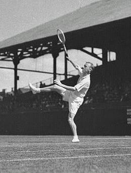 Harry Hopman hitting an overhead in the 1930s