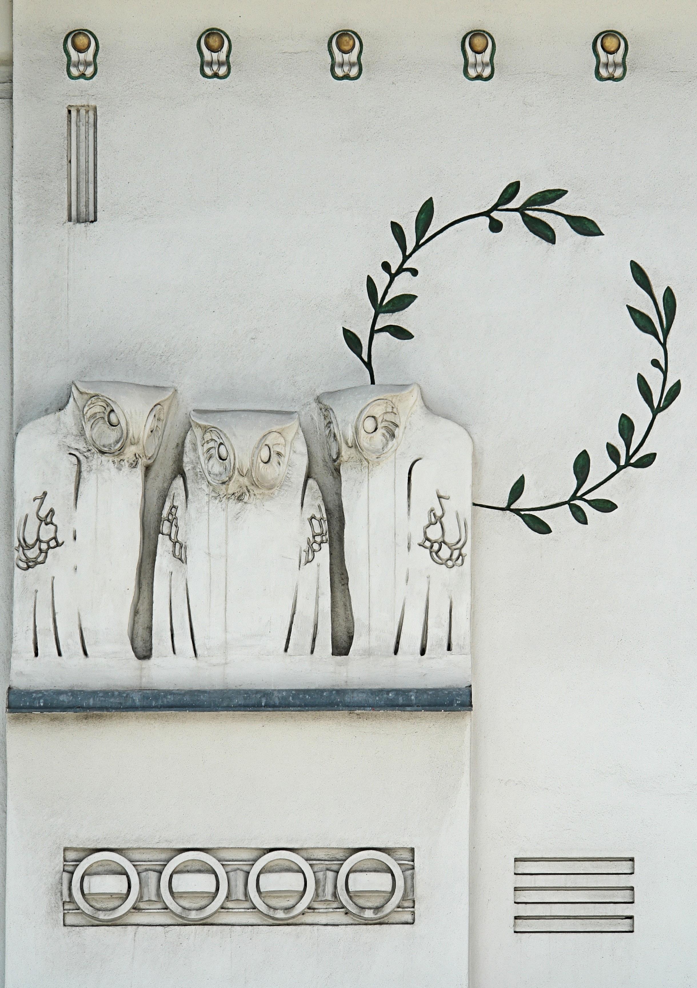 file jugendstil owls koloman moser detail facade of. Black Bedroom Furniture Sets. Home Design Ideas