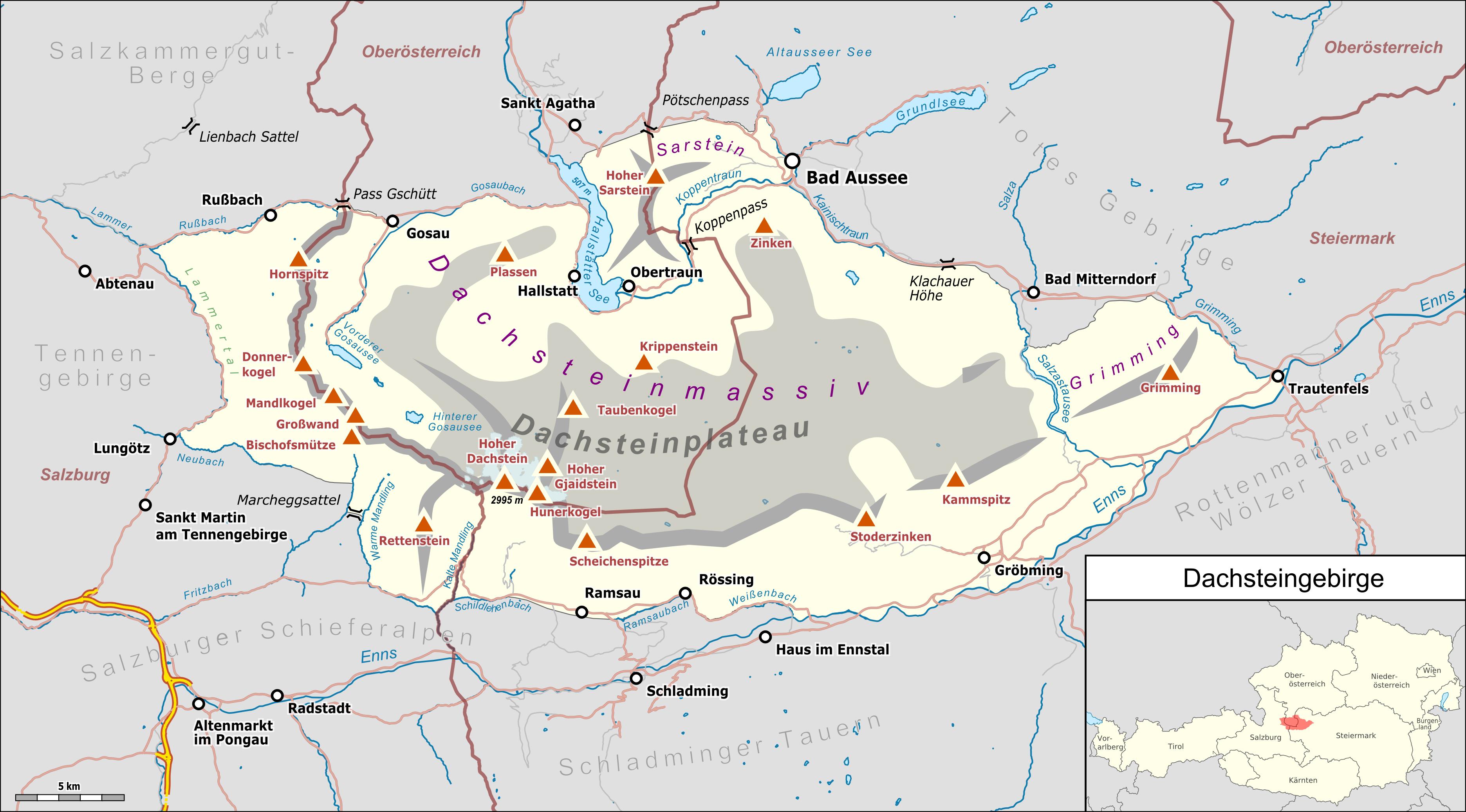 Dachstein Karte.Dachsteinmassiv Wikipedia