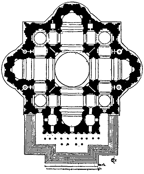Michelangelo's design for St Peter's is both massive and contained, with the corners between the apsidal arms of the Greek Cross filled by square projections.