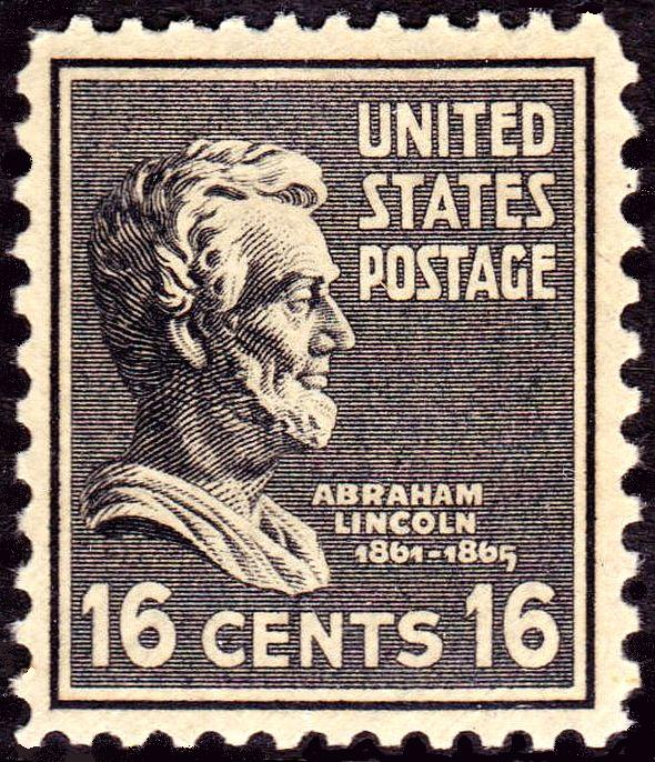 The Stamp Recognizing Abraham Lincoln Was 16 Cent Value And Issued In Color Black It First On 20 October 1938 Washington