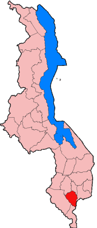 Map of the district of Thyolo in Malawi