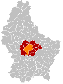 Map showing, in orange, the Mersch commune