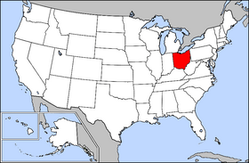 Mapa ning United States with Ohio highlighted