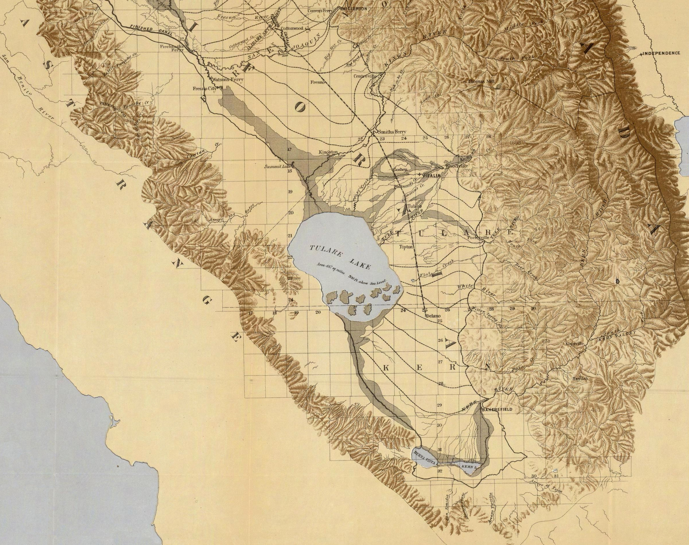 file map of the san joaquin sacramento and tulare valleys 1873 tulare valley