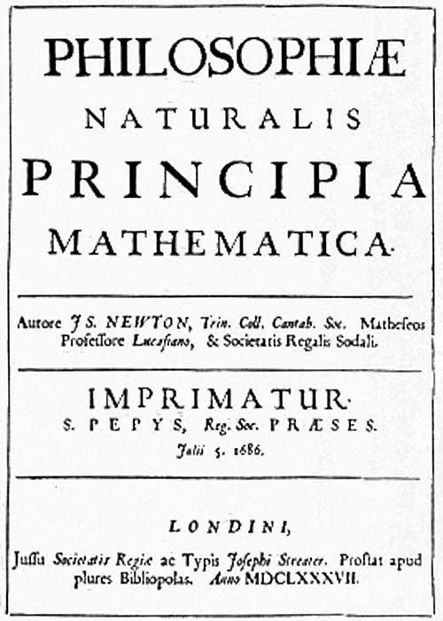 Portada de una obra cumbre de la Revolución cient�fica: los Principia Mathematica de Isaac Newton