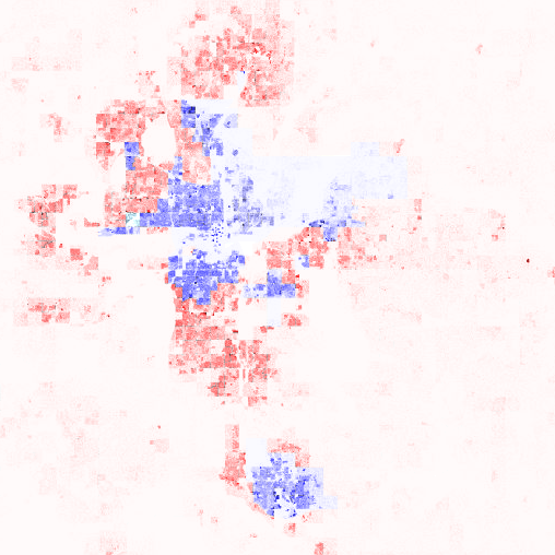 Oklahoma City region population dot map and 2016 Presidential election results by precinct.