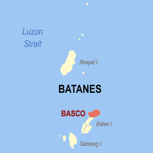 Map of Batanes showing the location of Basco