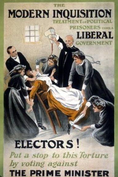 Poster against Liberal government for force-feeding prisoners