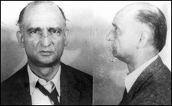 A composite photo showing the front and left sides of a man's face. The man is wearing a dark jacket with a loose tie