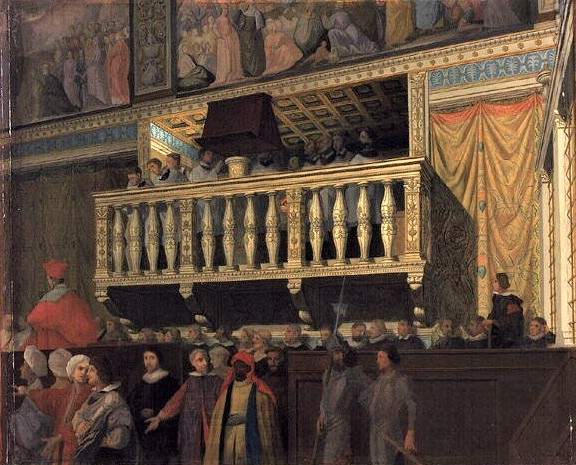 The Sistine Chapel Choir depicted in the early 17th century on their balcony in the Sistine Chapel Sistine Chapel Choir depicted by Ingres, 1848.jpg