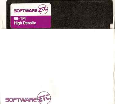 "Logo of retailer Software, Etc. on a 5.25"" floppy disk branded by the company"