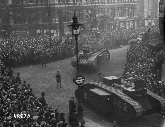 Tanks on parade in London at the end of World War I, 1918