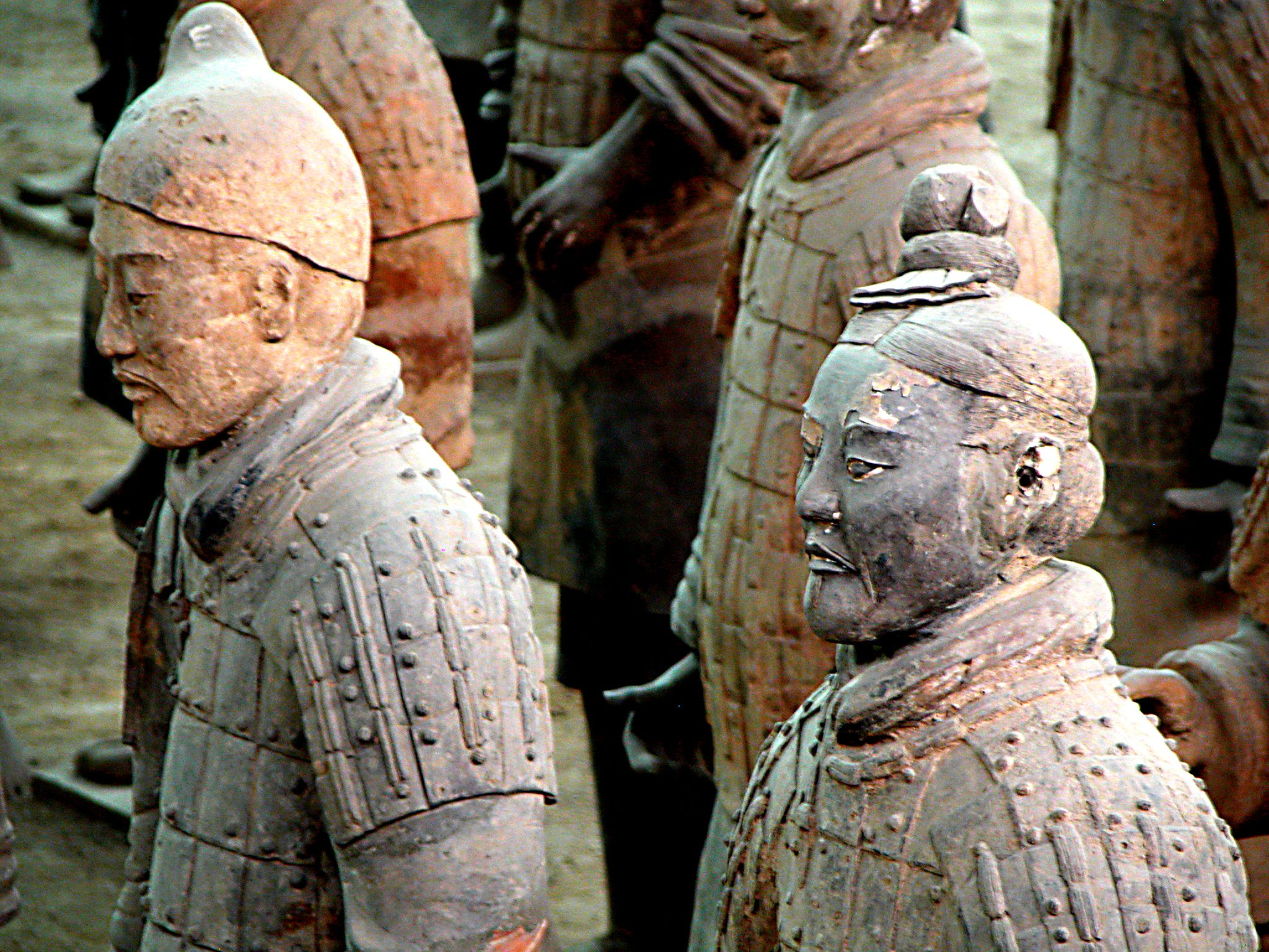 Some of the thousands of life-size Terracotta Warriors of the Qin Dynasty, ca. 210 BC.