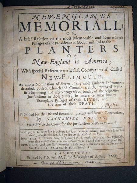 Title page New England's Memorial by Nathaniel Morton 1669