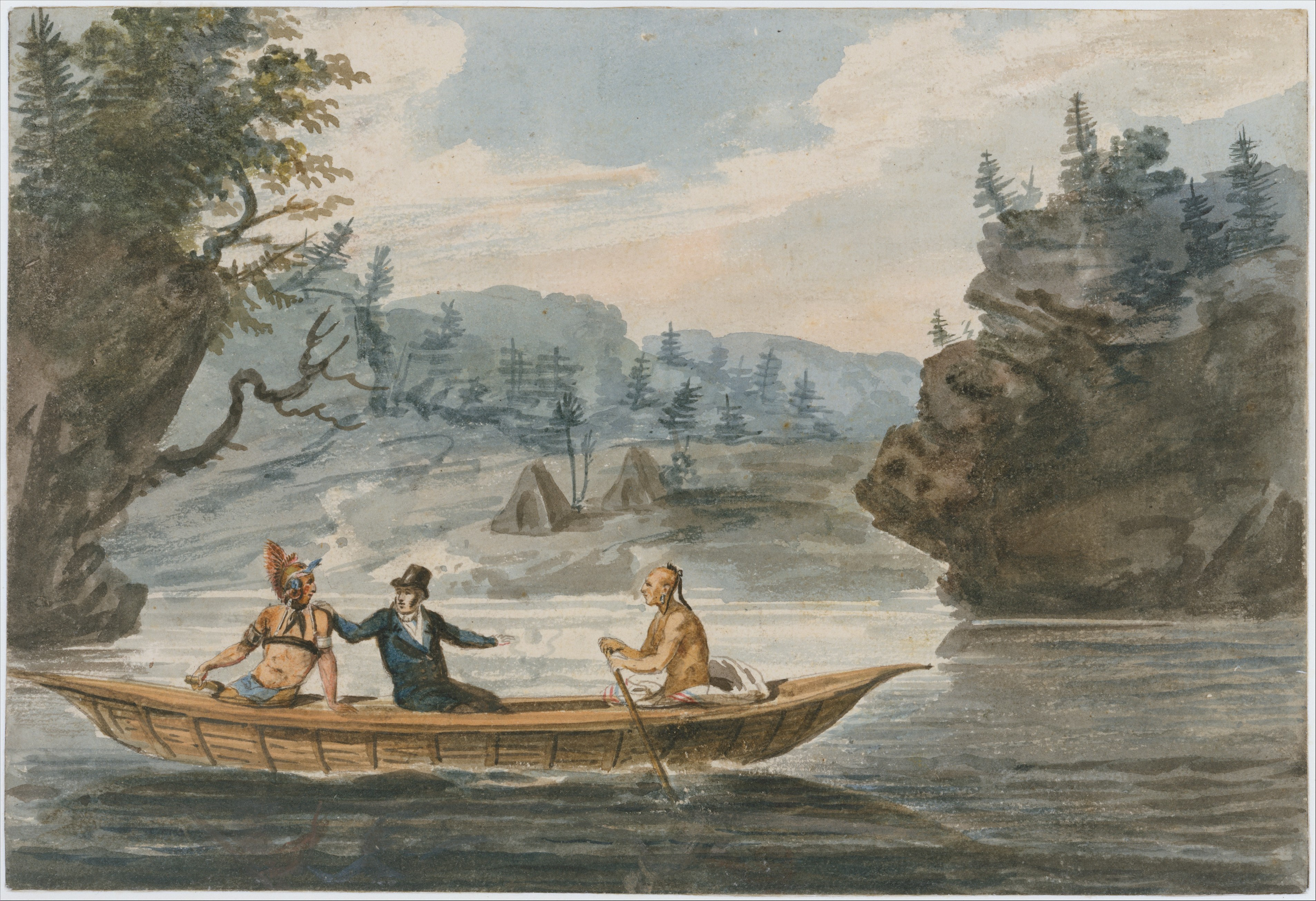 File:Two Indians and a White Man in a Canoe MET DT1812.jpg - Wikimedia  Commons