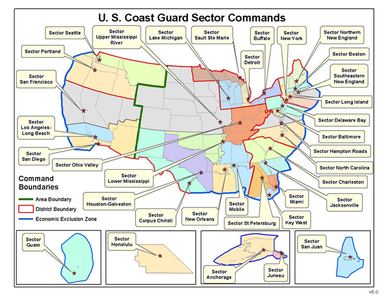 United States Coast Guard Sector Wikiwand - Us coast guard stations map