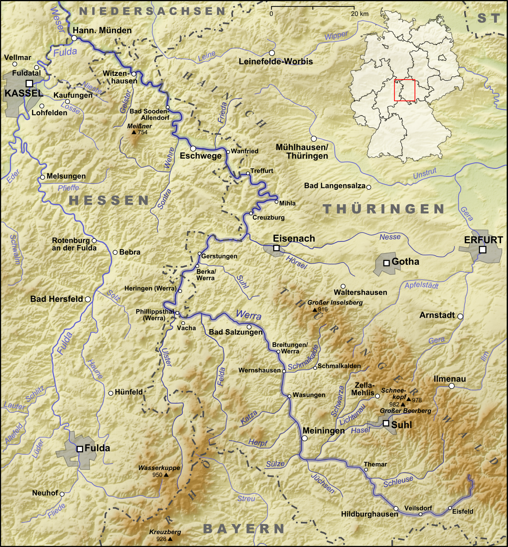 Werratal Radweg Karte.Werra Wikipedia