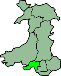 West Glamorgan shown within Wales as a preserved county