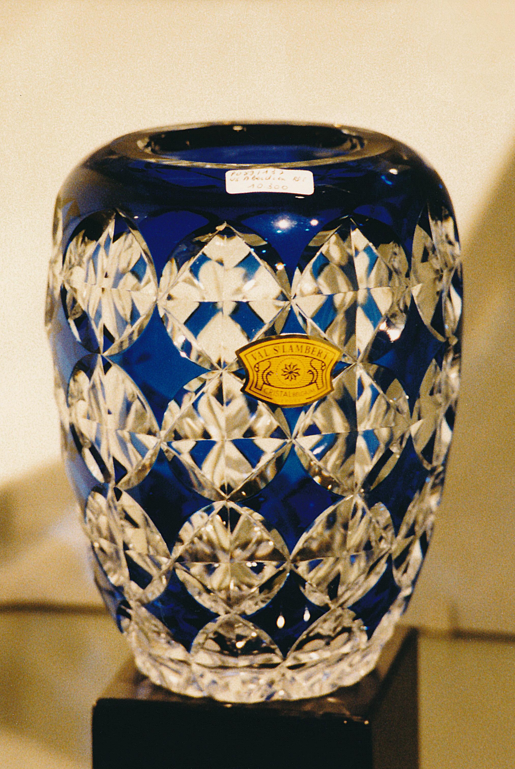 Vase En Cristal De Boheme Rectangulaire Decor Ef Bf Bd De Fleurs Rav Ef Bf Bdes