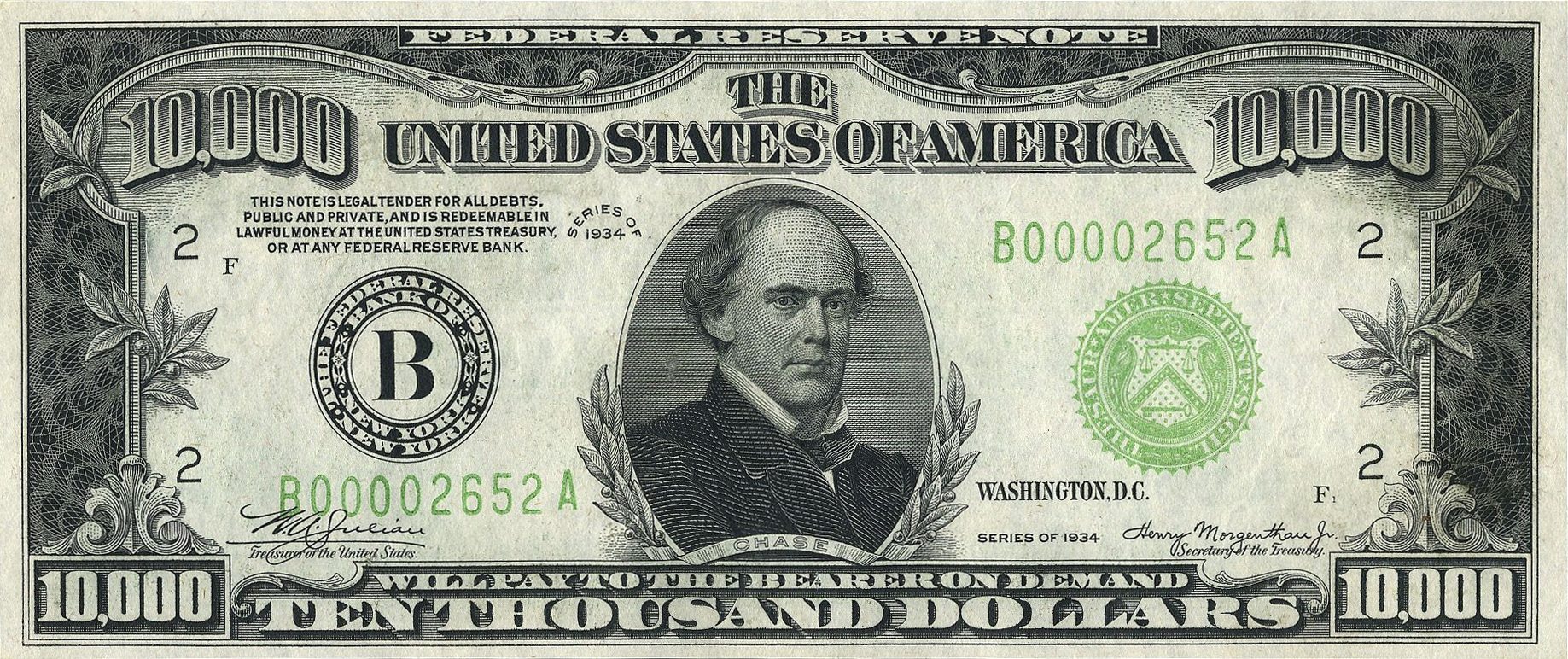 File:10000 USD note; series of 1934; obverse.jpg - Wikimedia Commons