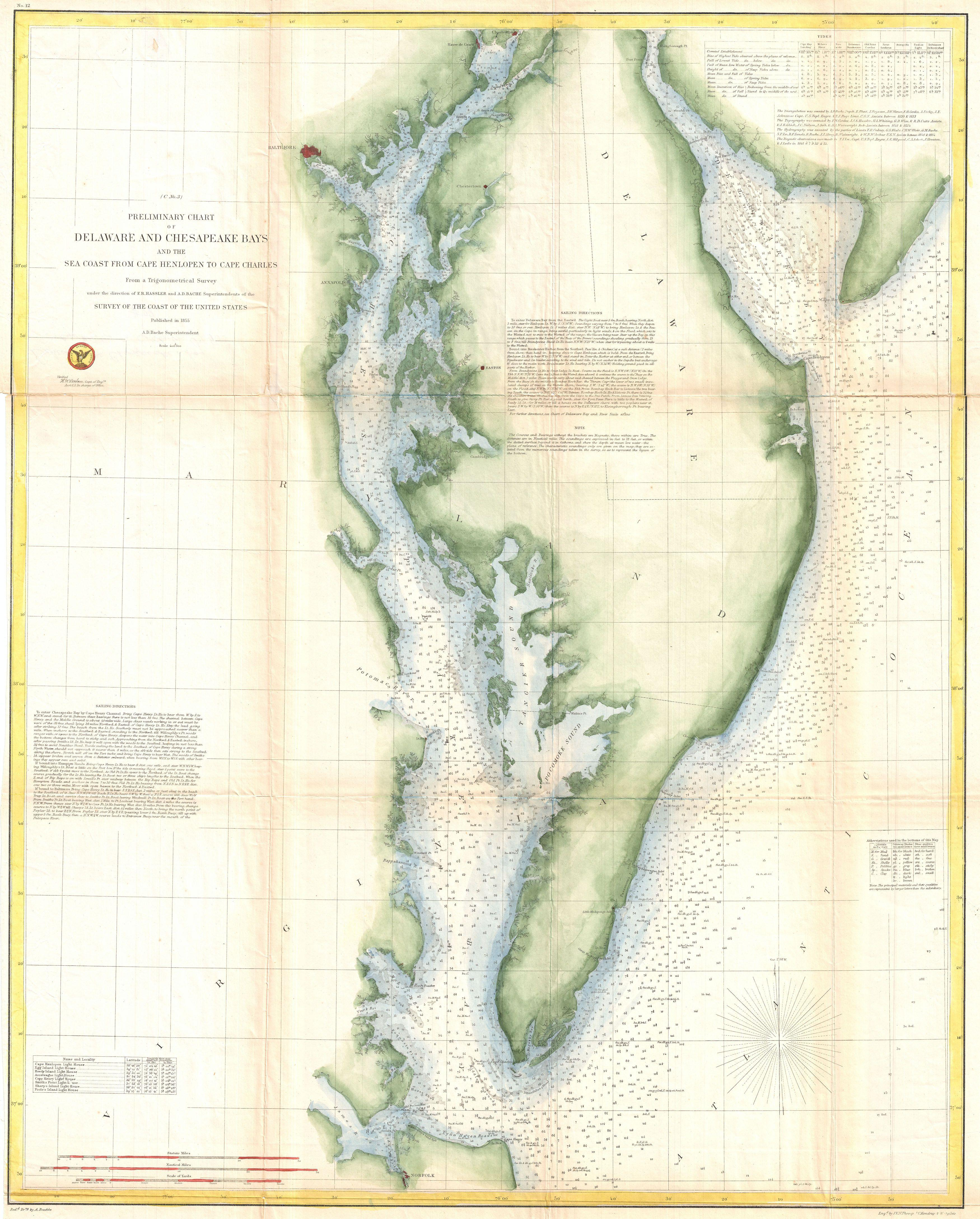 File US Coast Survey Chart Or Map Of Chesapeake Bay And - Us map chesapeake bay