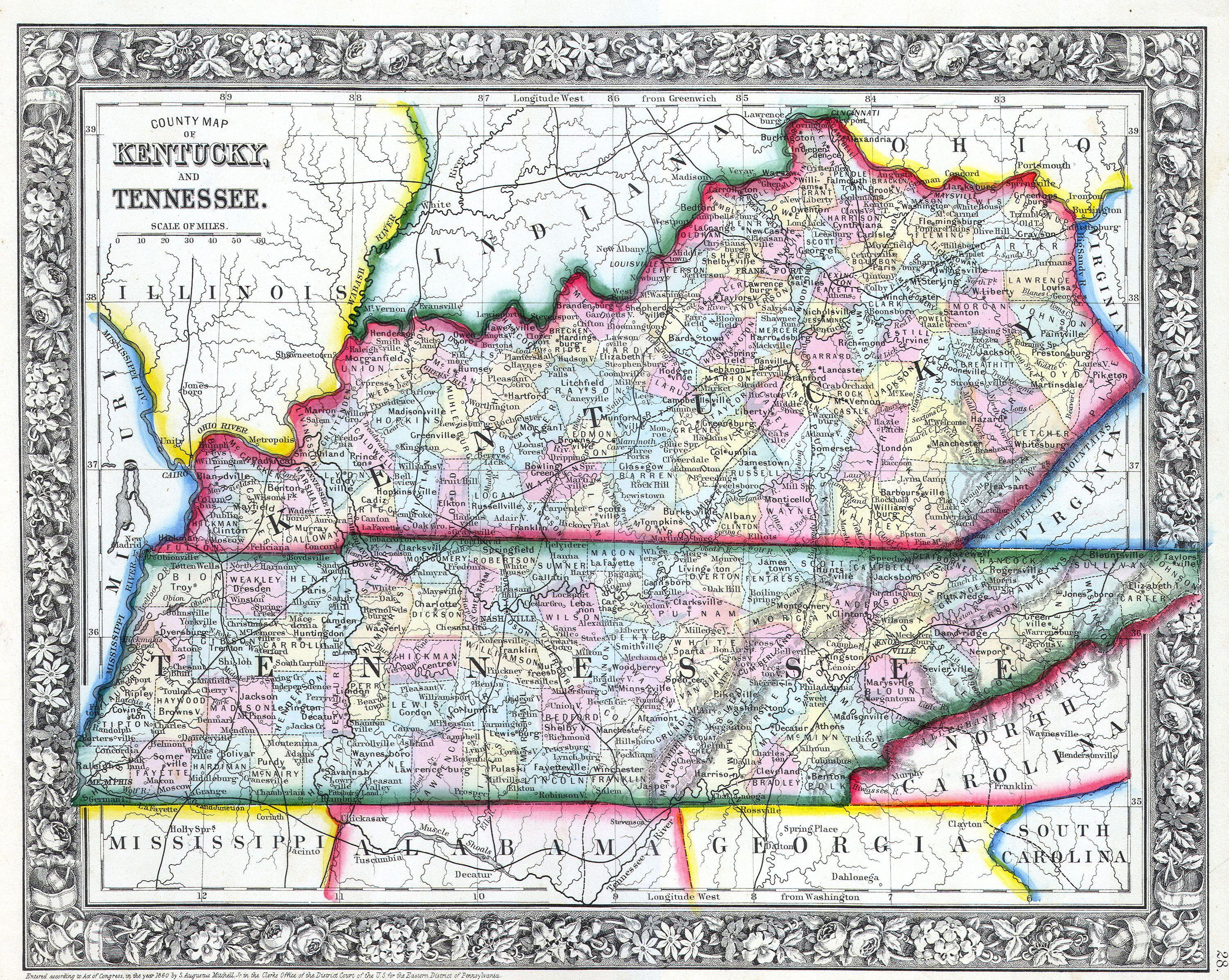File Mitchell Map Of Kentucky And Tennessee Geographicus - Map of tn