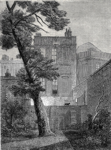 "The back of No. 19, York Street (1848). In 1651 John Milton moved into a ""pretty garden-house"" in Petty France. He lived there until the Restoration. Later it became No. 19 York Street, belonged to Jeremy Bentham, was occupied successively by James Mill and William Hazlitt, and finally demolished in 1877. 19 York Street, Westminster (1848).jpg"