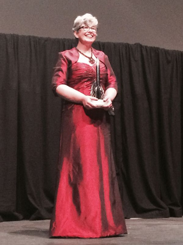 Ann Leckie receiving the [[Hugo Award]] in 2014
