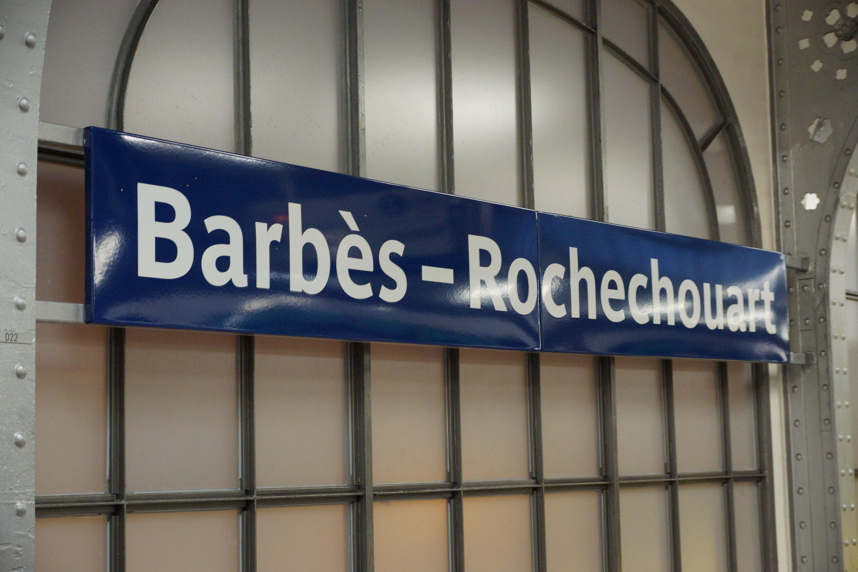 File Barbès Rochechouart metro station Paris 7 April