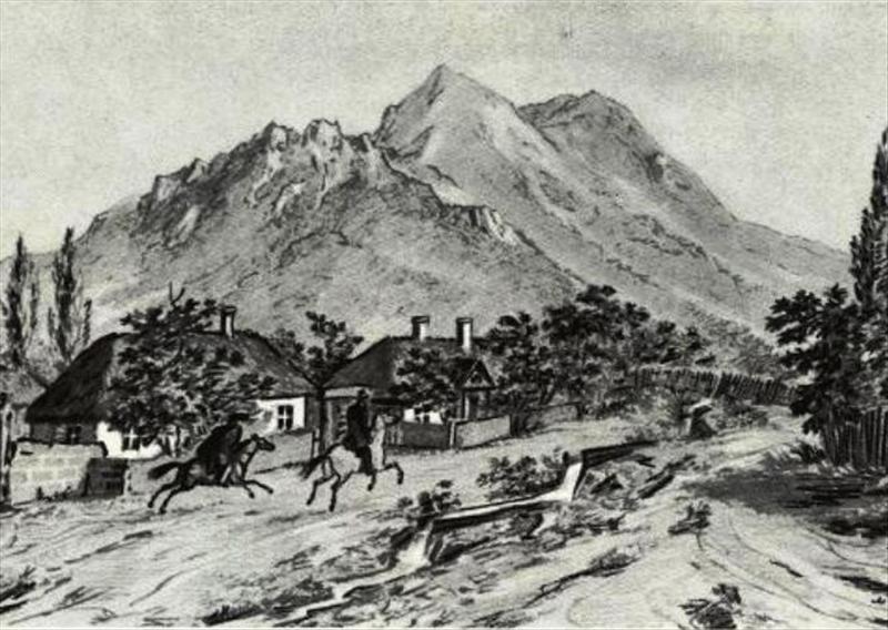 Beshtau Mountain drawing by Mikhail Lermontov 1837.jpg