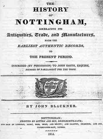 Blackner's ''History of Nottingham'' pub. 1815