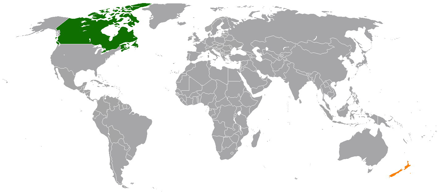 Canada On World Map Canada–New Zealand relations   Wikipedia